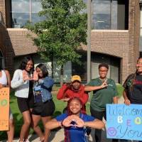 Black Excellence Orientation 2019 students holding signs 5